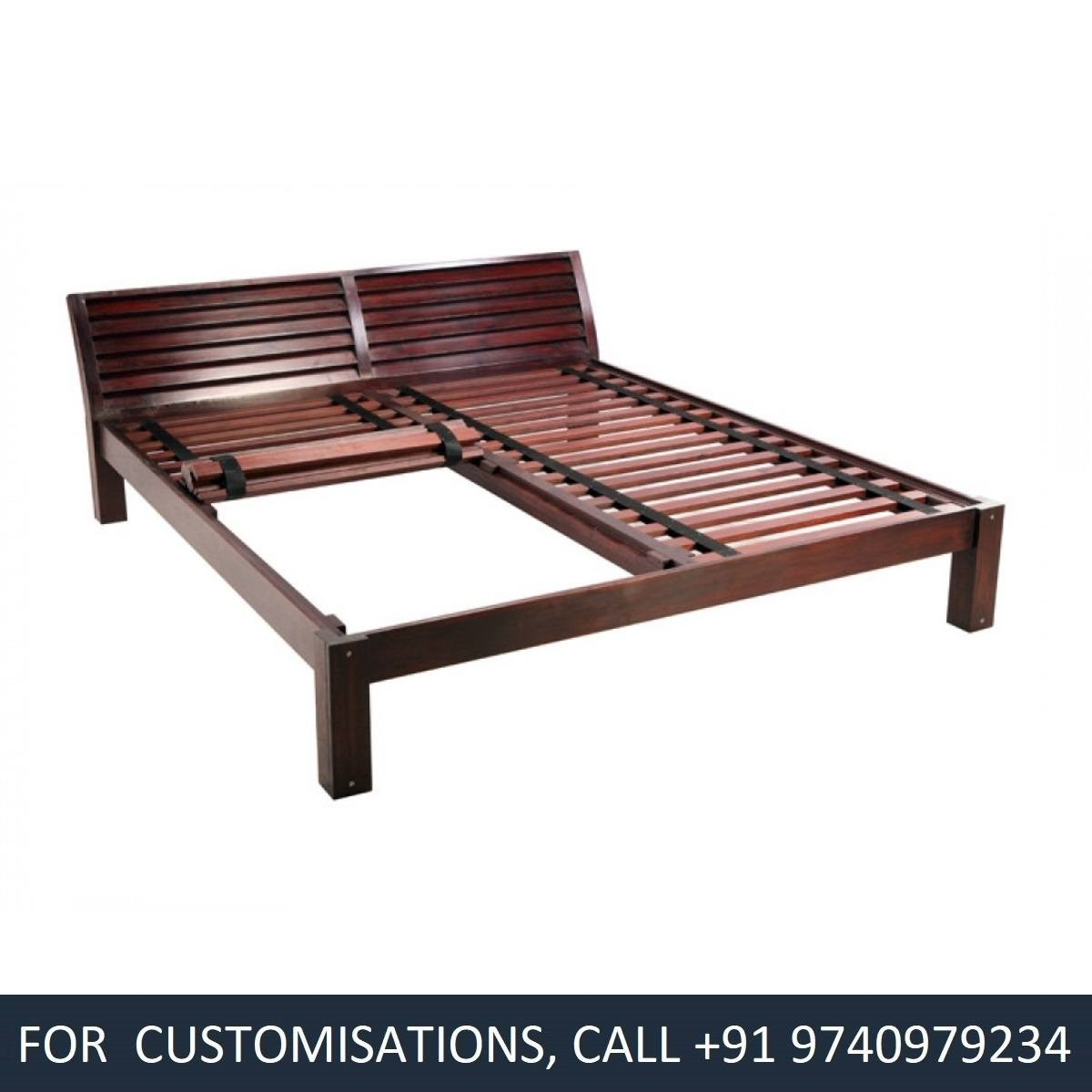 Madonna King Size Teak Wood Bed Price In India Buy Madonna King Size Teak Wood Bed Online Vyom Design