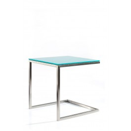 SS Side Table w Painted Glass