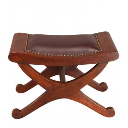 Foot Stool - Teak & Leather