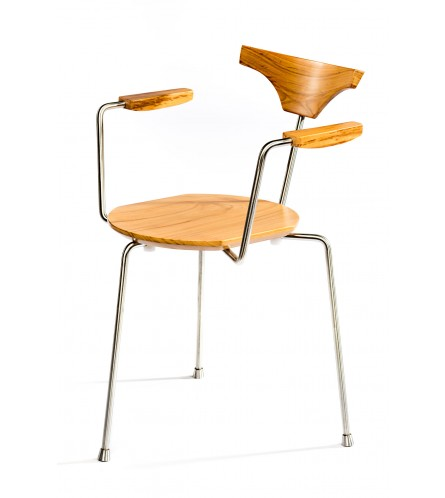 Arne Metal / Solid Wood Chair With Arms - Maple