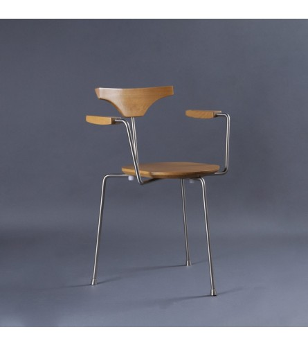 Arne Wood / Metal Chair - Seat, Arm, & Backrest In Solid Wood With Metal Frame Legs