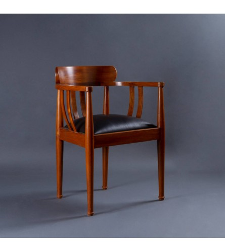 Bucket Teak Wood Chair - Leather Upholstered Seat With Teak Wood Frame Legs