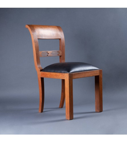 Cairo Wood Chair - Leather Upholstered Seat With Teak Wood Frame Legs