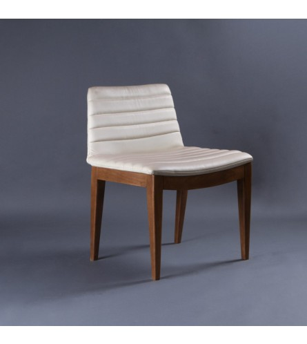 CET Wood Chair - Leatherette Upholstered Seat & Backrest With Sold Wood Frame Legs