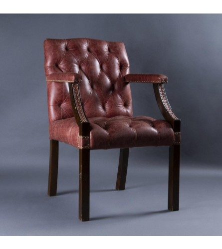 Elton Wood Chair - Leather Upholstered Seat & Backrest With Solid Wood Frame Legs