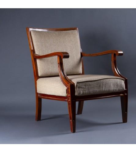Timeless Teak Wood Chair - Fabric Upholstered Seat & Backrest With Teak Wood Frame Legs