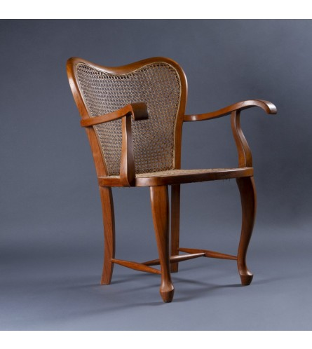 French Teak Wood Chair - Cane Seat & Backrest With Teak Wood Frame Legs