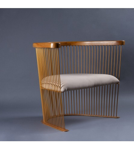 Harp Teak Wood / Metal Chair - Arms / Backrest In Teak Wood, Fabric Upholstered Seat & Metal Frame