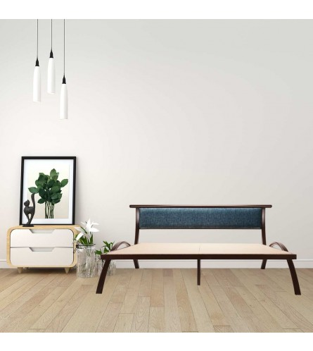 Arch | King Size Metal Bed  Powder Coated - Brown | Green Fabric Headboard