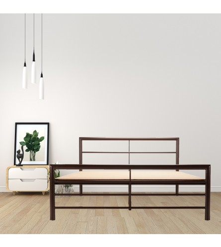 Linear | King Size Metal Bed With 12mm Plywood Powder Coated - Brown