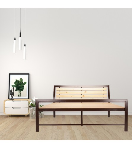 Rave | King Size Metal Bed With 12mm Plywood Powder Coated - Brown