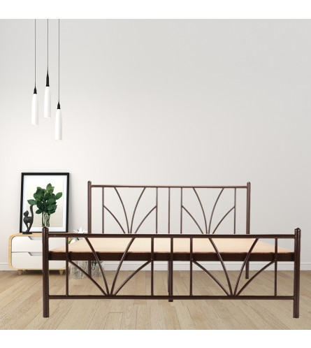 Stalk | King Size Metal Bed With 12mm Plywood Powder Coated - Brown