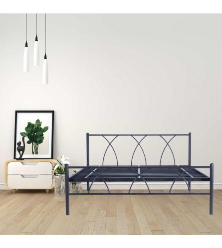 Alpha | King Size Metal Bed Powder Coated - Graphite Grey