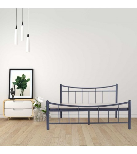Ellipse | King Size Metal Bed With 12mm Plywood Powder Coated - Graphite Grey