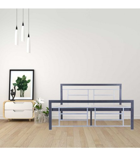 Cube | King Size Metal Bed With 12mm Plywood Powder Coated - Graphite Grey