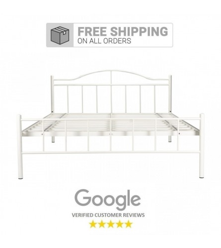 Svelte | Queen Size Metal Bed Powder Coated - White