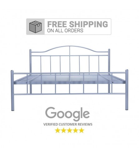 Svelte   Queen Size Metal Bed Powder Coated - Silver Grey