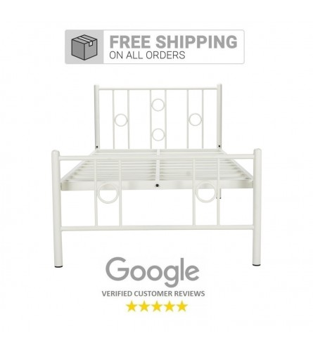Roadster | Single Size Metal Bed Powder Coated - White