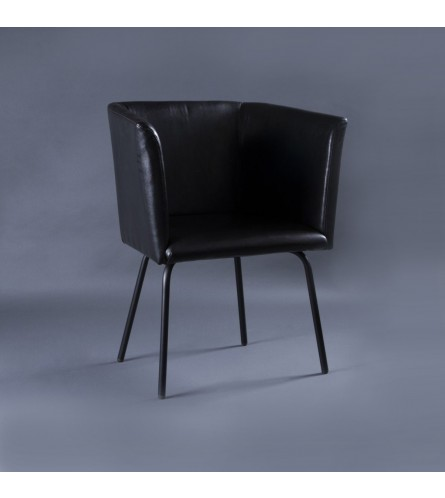 Compact Metal Arm Chair - Leatherette Upholstered Seat & Backrest With Metal Frame Legs
