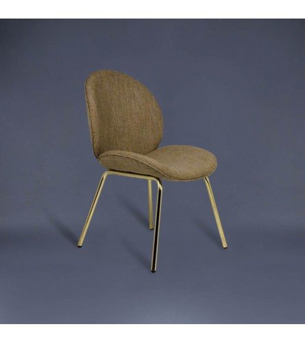 Mistletoe Metal Chair - Fabric Upholstered Seat & Backrest With Gold Plated Legs