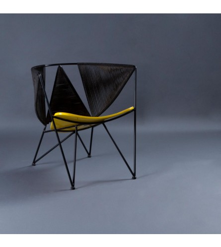 Star Metal Chair - Seat In Painted Plywood & Backrest In Metal / Rope