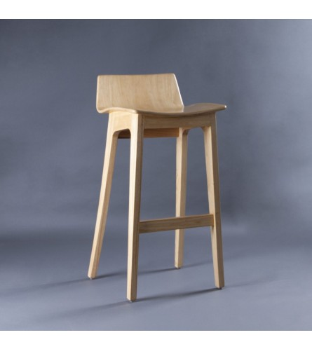 Nordic Bar Stool - Plywood Seat With Solid Wood Frame Legs (Low Backrest Height)