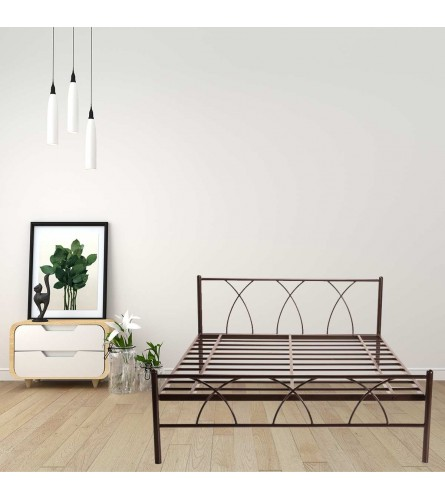 Alpha | Queen Size Metal Bed Powder Coated - Brown