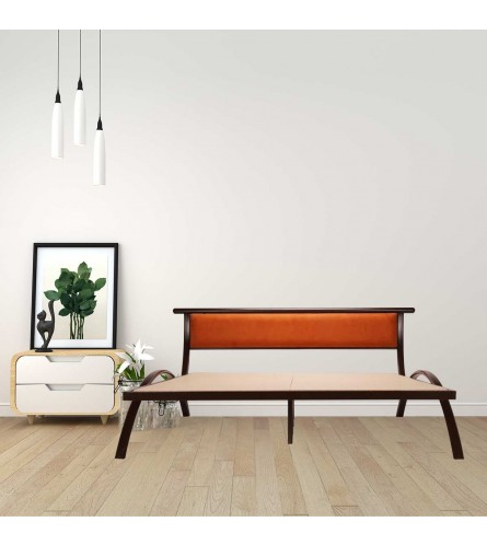 Arch | Queen Size Metal Bed  Powder Coated - Brown | Burnt Orange Fabric Headboard