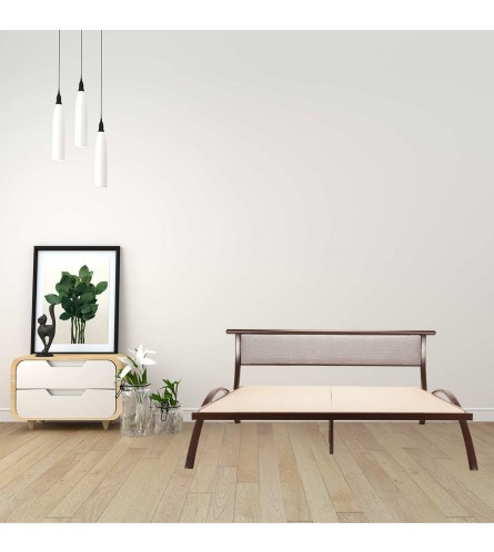 Arch | Queen Size Metal Bed  Powder Coated - Brown | B&W Fabric Headboard