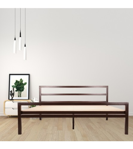 Blanche | Queen Size Metal Bed With 12mm Plywood Powder Coated - Brown