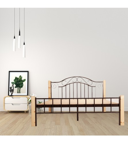 Cinq | Queen Size Metal Bed With 12mm Plywood Powder Coated - Brown