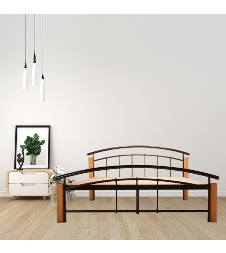 Clover | Queen Size Metal Bed With 12mm Plywood Powder Coated - Brown