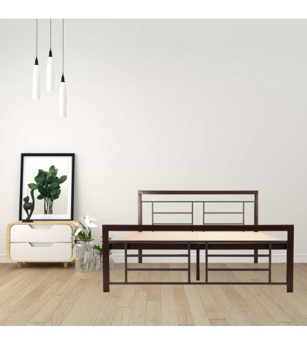 Cube | Queen Size Metal Bed With 12mm Plywood Powder Coated - Brown