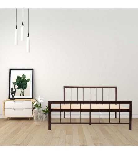 Myst | Queen Size Metal Bed With 12mm Plywood Powder Coated - Brown