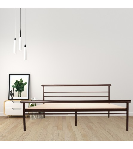 Niveh | Queen Size Metal Bed With 12mm Plywood Powder Coated - Brown