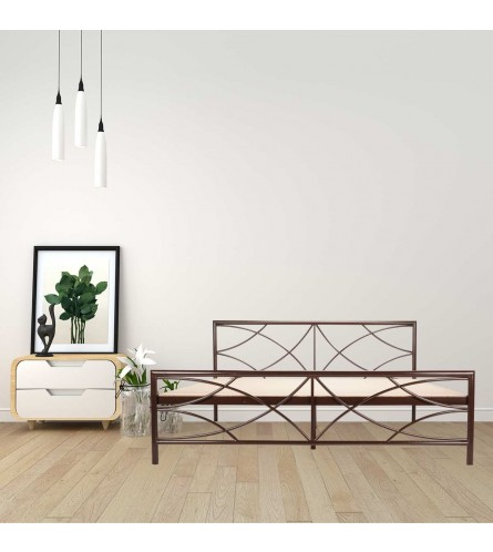 Quaker | Queen Size Metal Bed With 12mm Plywood Powder Coated - Brown