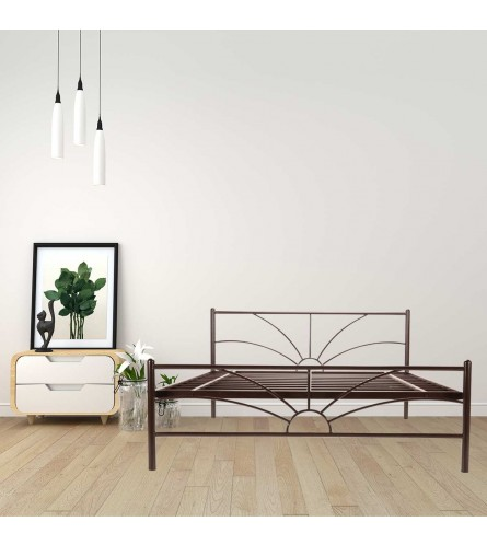 Sun | Queen Size Metal Bed Powder Coated - Brown