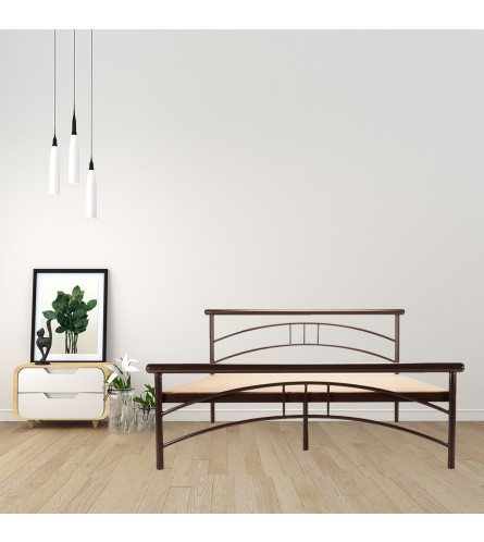Tweak | Queen Size Metal Bed With 12mm Plywood Powder Coated - Brown
