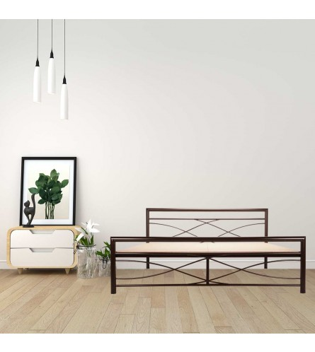 Wiry | Queen Size Metal Bed With 12mm Plywood Powder Coated - Brown