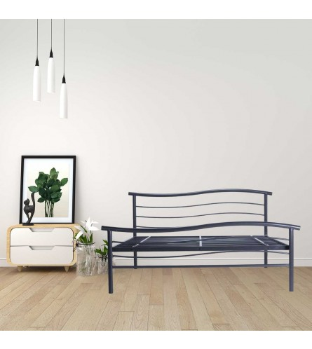 Wave | Queen Size Metal Bed Powder Coated - Graphite Grey - Without Plywood