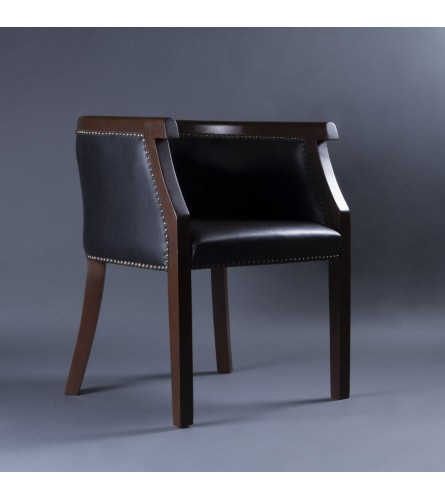 Regal Wood Chair - Rexine Upholstered Seat & Backrest With Solid Wood Frame Legs