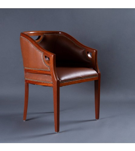 Regal Wood Chair - Leather Upholstered Seat & Backrest With Solid Wood Frame Legs