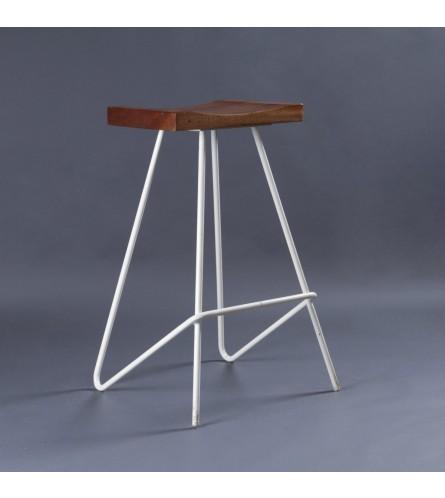 Saddle Wood / Metal Bar Stool - Solid Wood Seat & Metal Frame Legs