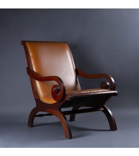 Scroll Teak Wood Chair - Leather Upholstered Seat & Backrest With Teak Wood Frame Legs