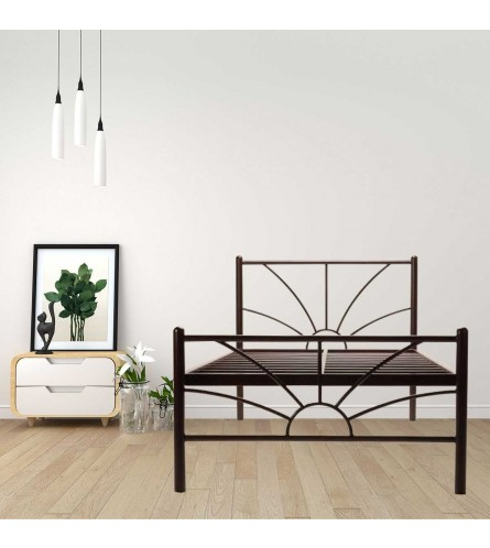 Sun | Single Size Metal Bed Powder Coated - Brown