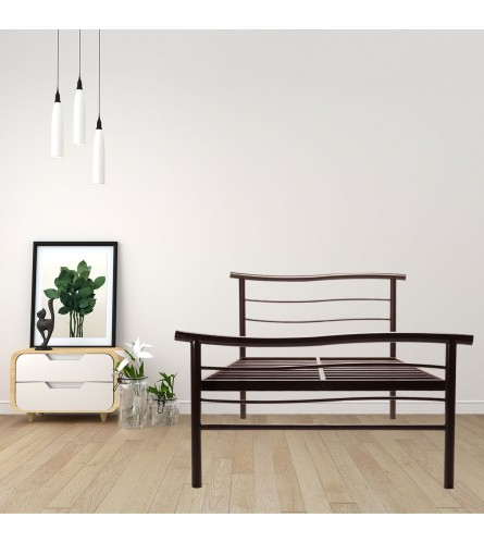 Wave | Single Size Metal Bed Powder Coated - Brown