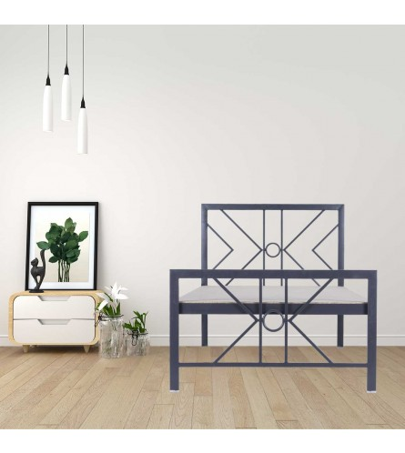 Geometric | Single Size Metal Bed With 12mm Plywood Powder Coated - Graphite Grey
