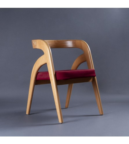 Curve Wood Chair - Fabric Upholstered Seat With Solid Wood Frame Legs (Natural Finish)