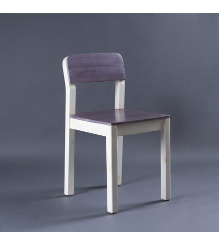 Sven Wood Chair - Seat, Backrest & Frame / Legs In Solid Wood (White-Grey Finish)