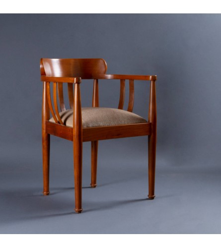 Bucket Teak Wood Chair With Seating Upholstery In Fabric